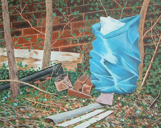 painting of discarded street detritus