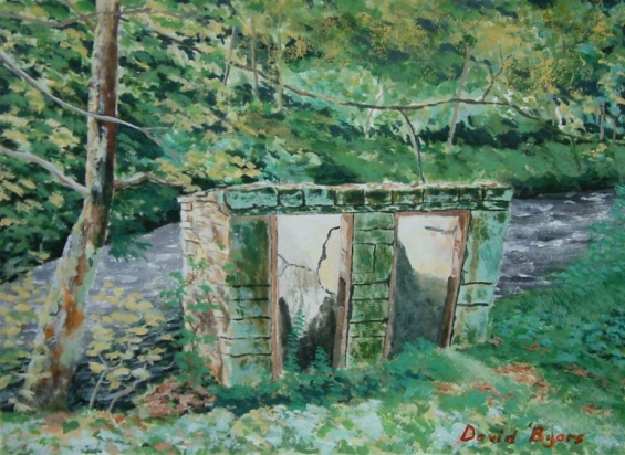 painting of Gibson Mill privies