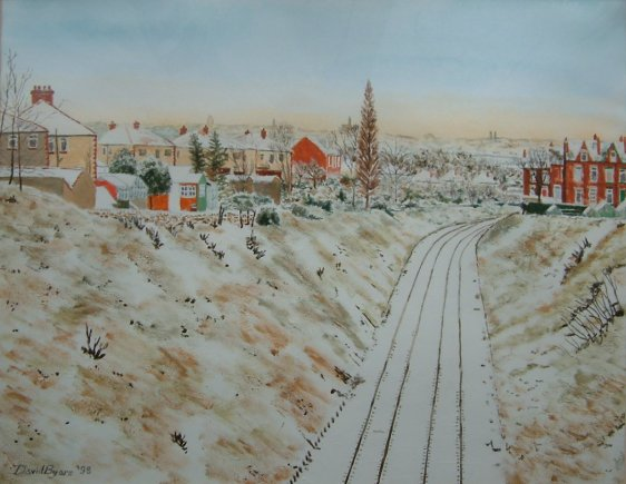 painting of headingley railway in snow