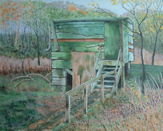 painting of old birdwatching hide