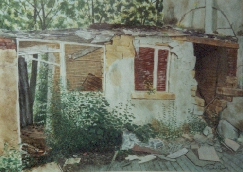 painting of derelict building