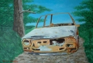 thumbnail of burnt out joy rider's car painting